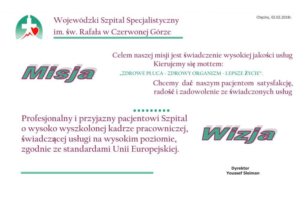 misja wizja szpitala na białym tle z nadrukiem liter w kolorze zielonym i brązowym z podpisem dyrektora w kolorze czarnym
