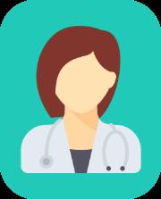 ikona sylwetka kobiety lekarza w tle koloru niebieskiego