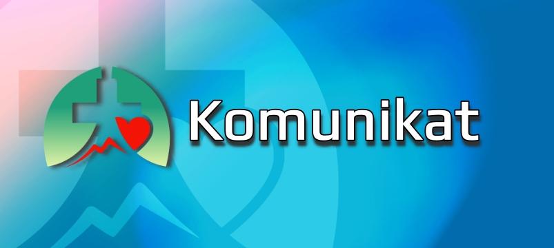 logo szpitala na niebieskim tle z białymi literami Ogłoszenie Komunikat