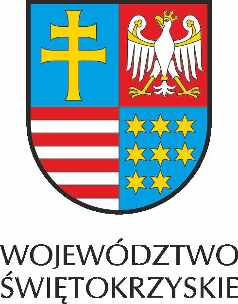 logo województwa siętokrzyskiego koloru niebieskiego w którym znajdują si elogotypy koloru żółtego białego i czerwonego