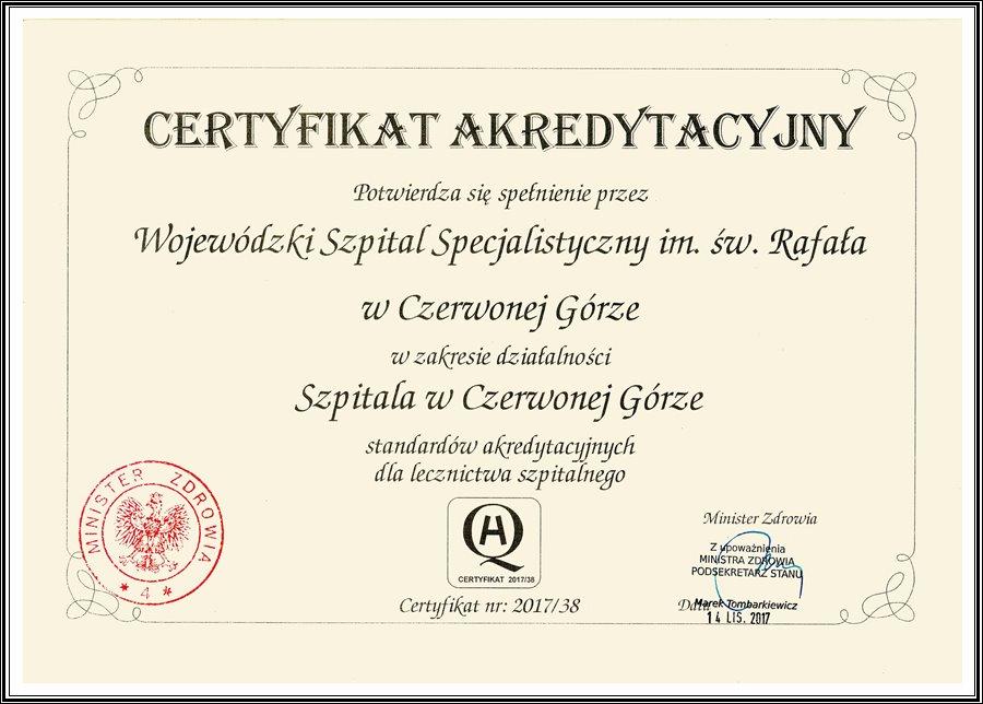 Certyfikat akredycyjny koloru kawowego z czarnym nadrukiem oraz czerwona pieczęć Minister Zdrowia wraz z podpisem