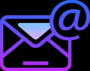 Ikona przedstawiająca kontury koperty oraz znak małpy internetowej. Kolor gradient przenikający z koloru niebieskiego w kolor fiolety.
