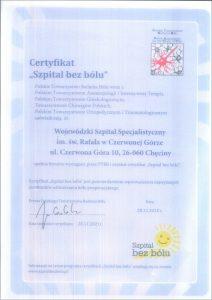 Certyfikat Szpital bez bólu w kolorze niebieskim oraz ikona słońca