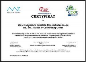 certyfikat dla Szpitala koloru białego z nadrukami koloru czarnego, niebieskiego, czerowego i zielonego z logami Unii Europejskiej, Ministerstwa Zdrowia oraz Narodowego Programu Ochrony Antybiotyków.