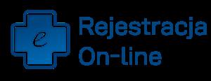 Ikona, znak w postaci niebieskiego krzyża zawierający w środku literę e. Rejestracja On-line