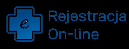ikona w kształcie krzyża koloru niebieskiego z napisem rejestracja On-Line