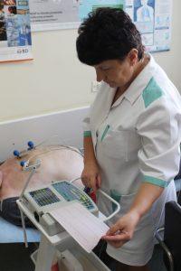 osoba ubrana w medyczne ubranie ochronne koloru białego wykonuje badania ekg na aparacie EKG