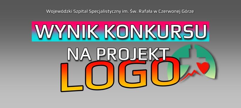 grafika z napisem wynik konkursu na logo, napisy w kolorze żółto pomarańczowym, szare tło, znak logo szpitala wss