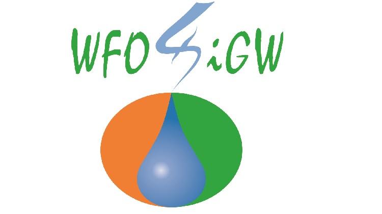 logo Wojewódzkiego Funduszu Ochrony Środowiska i Gospodarki Wodnej w Kielcach. Znak kropli wody na okrągłym kształcie koloru pomarańczowego i zielonego